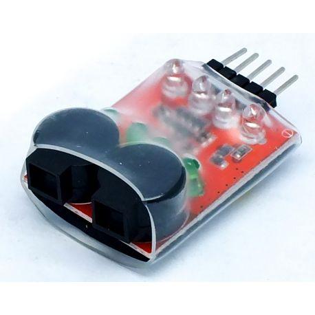 Salva lipo 1s-4s alarma por voltaje bajo, con 4 leds, 2 buzzers sonido potente
