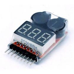 Salva lipo-voltimetro 1s-8s alarma por voltaje bajo programable, con LCD, 2 buzzers sonido potente y 1 led